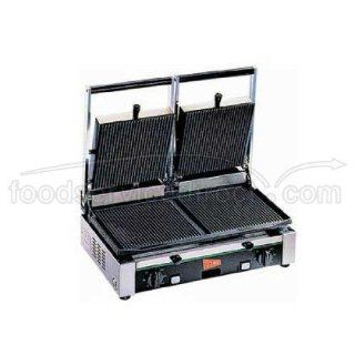 Cecilware Stainless Steel Double Grooved Surface Medium Duty Sandwich/Panini Grill, 20.25 x 12.5 x 19.75 inch    1 each. Kitchen & Dining