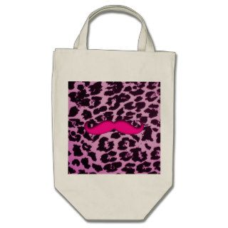 Cute funny pink mustache girly purple leopard skin canvas bag