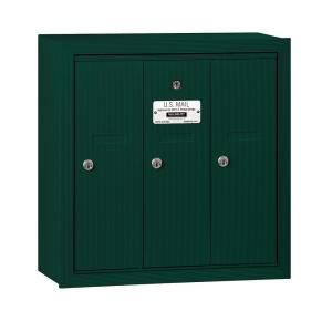 Salsbury Industries 3500 Series Green Surface Mounted Private Vertical Mailbox with 3 Doors 3503GSP