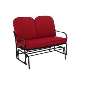 Hampton Bay Fall River Patio Double Glider with Dragon Fruit Cushion DY11034 G R