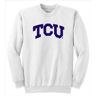 BSS   Texas Christian Horned Frogs NCAA Arch Solid Logo White Crewneck Sweatshirt (Medium)