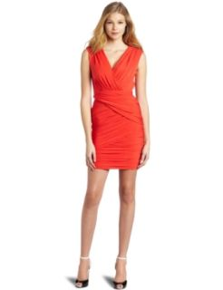 BCBGMAXAZRIA Women's Lou V Neck Short Cocktail Dress, Bright Poppy, X Small