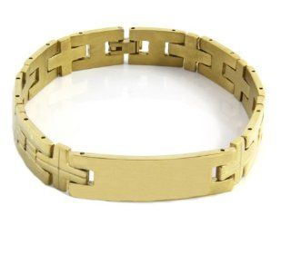 Men's Heavy Gold Plated Engravable ID Solid Stainless Steel Chain Link Bracelet 8 1/2 Inches GSTB 571 Jewelry