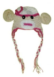 Baby Sock Monkey Crochet Beanie Hat   Boy & Girl Colors (Pink & Cream) Childrens Costume Headwear And Hats Clothing