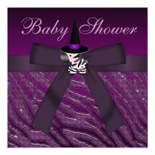 Purple Halloween Zebra & Animal Print Baby Shower Personalized Invitation
