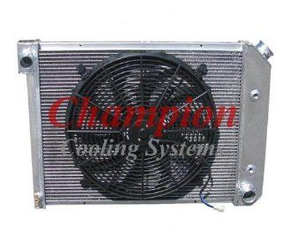"3 Row All Aluminum Replacement Radiator AND 16"" Reversible Fan with Fan Mounting Kit for the 1972 1981 Chevy Camaro (Engine applications 3.8l 229 V6, 3.8l 231 V6, 4.1l 250 L6, 4.4l 267 V8, 5.0l 305 V8, 5.0l 307 V8, 5.7l 350 V8)   Manufactured by Cham"