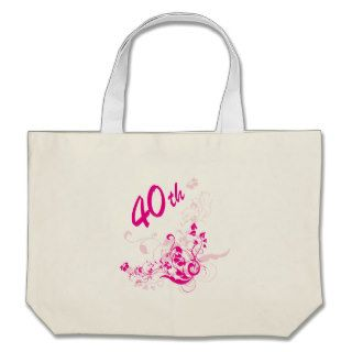 Floral 40th Birthday Gift Canvas Bags
