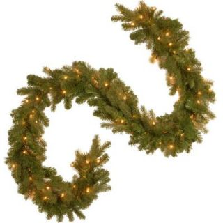 National Tree Company 9 ft. Feel Real Down Swept Douglas Fir Garland with 100 Clear Lights PEDD4 369 9B