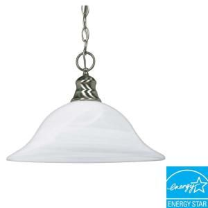 Glomar Green Matters 1 Light Hanging Brushed Nickel Pendant Light HD 3198