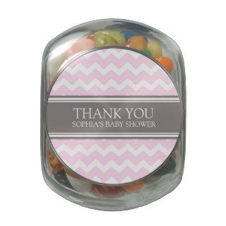 Baby Shower Favor Candy Jar Grey Pink Chevron Jelly Belly Candy Jars