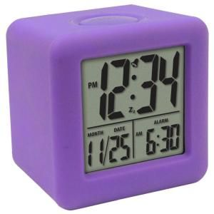 La Crosse Technology 3 1/4 in. x 3 1/4 in. Soft Purple Cube LCD Digital Alarm Clock 70904