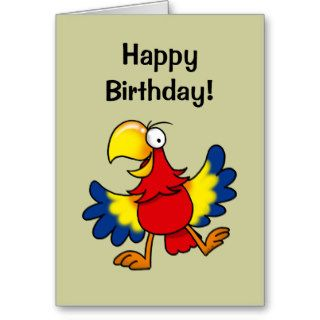 Happy birthday (cute parrot) greeting cards