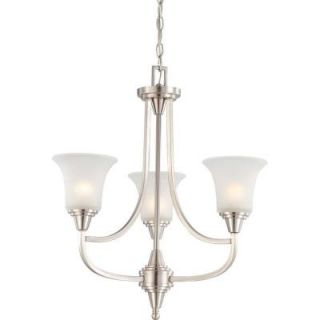 Glomar 3 Light Brushed Nickel Chandelier with Frosted Glass Shade HD 4145