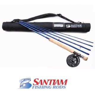 Santiam Fishing Rods Travel Fly Rod 5 Piece 9' 7/8 Line WT Graphite Fly Rod/Reel and Case Combo  Spinning Fishing Rods  Sports & Outdoors