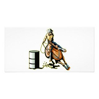 Horse Barrel Racing Picture Card
