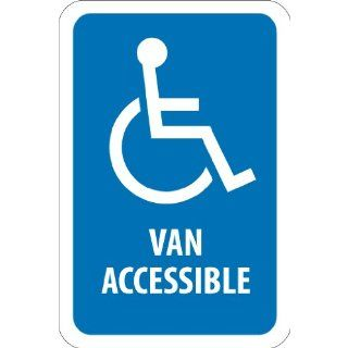"NMC TM147J Handicap Parking Sign, Legend ""VAN ACCESSIBLE"" with Graphic, 12"" Length x 18"" Height, Engineer Grade Prismatic Reflective Aluminum 0.080, White On Blue Industrial Warning Signs"