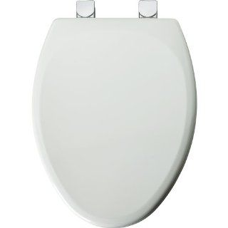 Mayfair 149CPEC 000 Molded Wood Toilet Seat with Chrome Lift Off Hinges, STA TITE Seat Fastening System and DuraGuard Antimicrobial, Elongated, White   Toilet Seat Elongated Metal