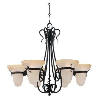 Sea Gull Lighting 3211 185 Six Light Saranac Lake Chandelier, Forged Iron Finish with Ember Glow Glass