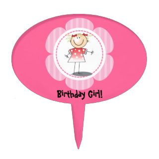 Happy Stick Girl Birthday Cake Topper Personalized