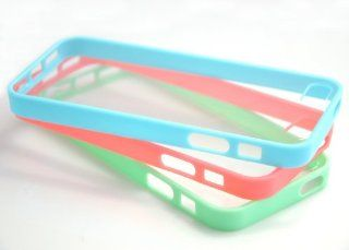 Costyle 3pcs/lot Colors Colorful Soft Trim High Clear Back Hard Cover Bumper Slim Case Skin for iPhone 5 5G 5S 5GS+2pcs Screen Protector+Free Crystal Stylus Touch Pen Wholesale Price  Mint Green Blue Rose Pink Cell Phones & Accessories