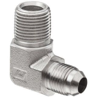 "Brennan 2501 06 04 SS, Stainless Steel JIC Tube Fitting, 06MJ 04MP 90 Degree Elbow, 3/8"" Tube OD x 1/4"" 18� NPTF Male Flared Tube Fittings"