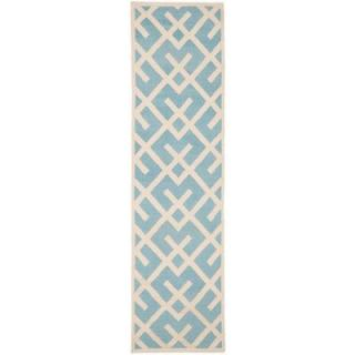 Safavieh Dhurries Light Blue/Ivory 2 ft. 6 in. x 12 ft. Runner DHU552B 212