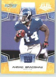 2008 Donruss   Score Limited Edition Super Bowl XLIII Gold Border # 207 Ahmad Bradshaw   New York Giants   NFL Trading Card Sports Collectibles