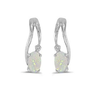 14k White Gold Oval Opal And Diamond Wave Earrings Stud Earrings Jewelry