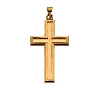 14K Yellow Gold Large Cross Pendant Jewelry