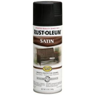 Rust Oleum Stops Rust 12 oz. Protective Enamel Satin Black Spray Paint 7777830