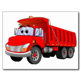 Red Dump Truck Cartoon Post Card