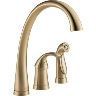 Delta Pilar Waterfall Single Handle Side Sprayer Kitchen Faucet in Champagne Bronze 4380 CZ DST