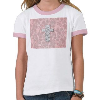 Black White Cross Girly pink Floral Lace Pattern T Shirt