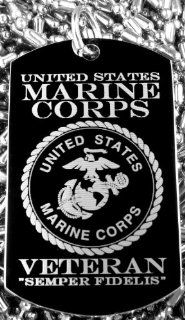 US Marine Corps Seal   Veteran   Semper Fidelis Dog Tag Necklace (Gold Color) Dog Tag Impressions Jewelry