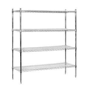 Salsbury Industries 9500S Series 60 in. W x 63 in. H x 18 in. D Galvanized Wire Stationary Wire Shelving in Chrome 9558S CHR