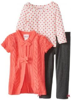 Little Lass Girls 2 6X 3 Piece Scrunched Sleeves Knit Sweater Set, Coral, 5 Pants Clothing Sets Clothing