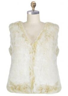 Capelli New York Ladies Tipped Faux Rabbit Fur Vneck Vest With Rounded Hem Saddle Beige X large Fashion T Shirts