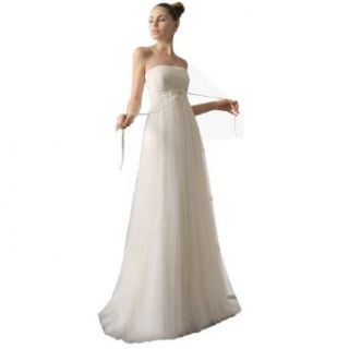 DAPENE Woman lady Simple Full Tulle A line Bridesmaid Wedding Dress White