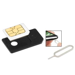 INSTEN Small Mini Micro Sim Card Adaptor Adapter Converter+Eject Pin For iPhone 4 G 4S No Contract Phones & Plans