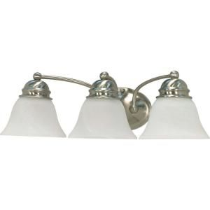 Glomar Empire 3 Light Brushed Nickel Vanity with Alabaster Glass Bell Shade HD 342