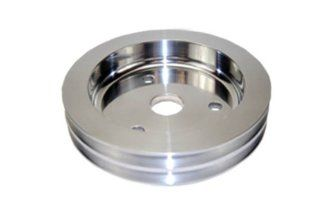 SBC Chevy 283 350 Polished Aluminum SWP Double Groove Crankshaft Pulley Automotive