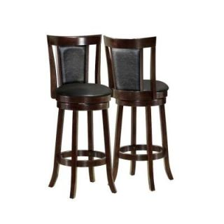 Monarch Specialties 43 in. H Black/Cappuccino Wood Swivel Barstool (2 Piece) I 1287
