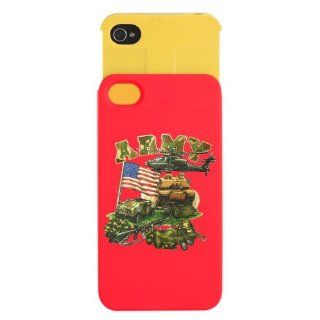 iPhone 4 or 4S Wallet Case Red and Yellow Camouflage Army with Helicopter Tank Hummer Gear and US Flag