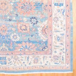 1950s Persian Hand knotted Vegetable Dye Mahal Light Blue/ Ivory Wool Rug (12'6 x 15'6) Oversized Rugs