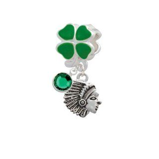 Lucky Small Indian   Mascot Green Four Leaf Clover European Charm Bead Hanger with Emerald Crystal Drop Delight Jewelry Jewelry