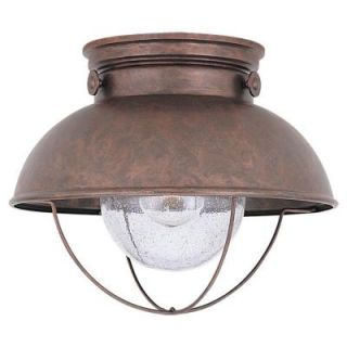 Sea Gull Lighting Sebring 1 Light Outdoor Weathered Copper Ceiling Fixture 8869 44