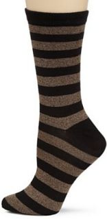 K. Bell Socks Womens Soft and Dreamy Twist Stripe Crew Socks, Brown, Size 9 11