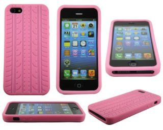 Pink Tire Treads Silicone Rubber Gel Soft Skin Case Cover for iPhone 5 USA SHIP Cell Phones & Accessories