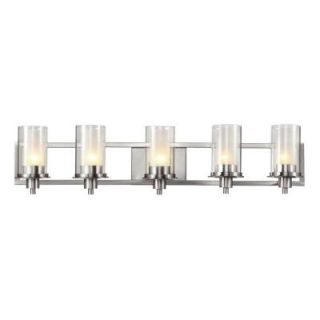 Filament Design Cabernet Collection 5 Light Brushed Nickel Bath Bar Light with Frosted Inner Glass Shade CLI WUP591898