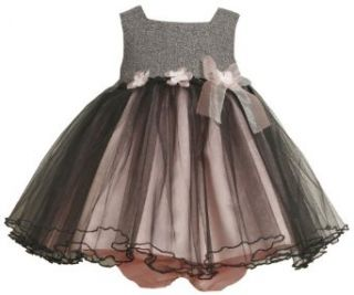 Bonnie Baby Girls Infant Tweed Bodice To Tulle Skirt with Flowers and Organza Bow, Gray, 24 Months Infant And Toddler Special Occasion Dresses Clothing